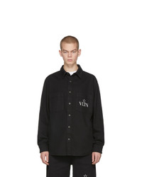 Valentino Black Vltn Star Denim Shirt