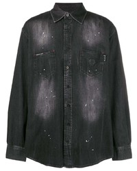 Philipp Plein Crystal Skull Denim Shirt