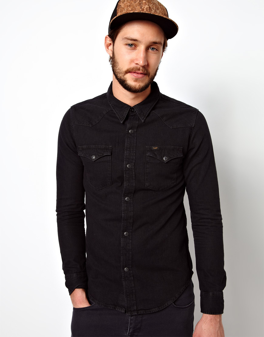 503b2dc9c8c ... Lee Denim Shirt Western Slim Fit Pitch Black