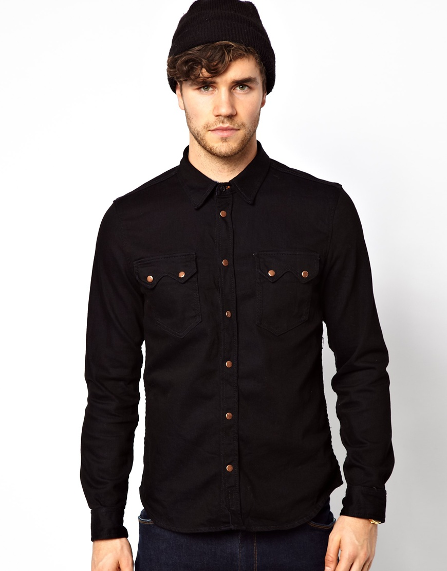 Nudie Jeans Nudie Denim Shirt Gusten Black On Blue | Where to buy ...