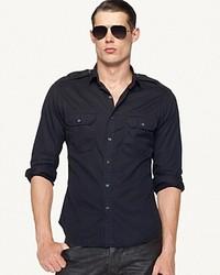 Ralph Lauren Black Label Denim Victoria Military Shirt