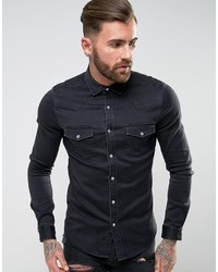 Asos Skinny Western Denim Shirt In Black