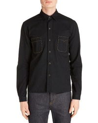 Saint Laurent Straight Fit Studded Snap Up Shirt