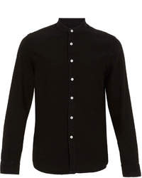 Topman Black Denim Long Sleeve Stand Collar Shirt