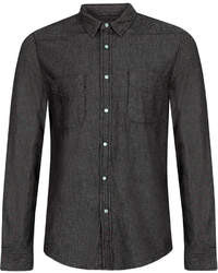 Topman Black Denim Western Long Sleeve Shirt