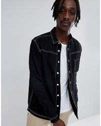 c8d729bbd73 ASOS DESIGN Washed Overshirt With Contrast Stitching In Black