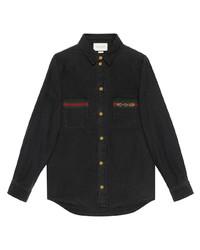 Gucci Web Detail Denim Shirt