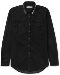 Givenchy Zip Detailed Distressed Denim Shirt