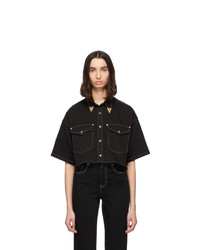 Black Denim Short Sleeve Button Down Shirt