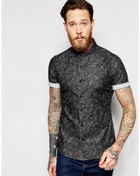 8f207551b43 Black Denim Short Sleeve Shirts for Men