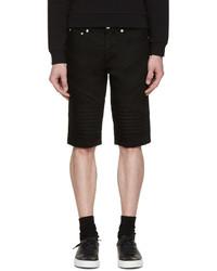 Givenchy Black Biker Denim Shorts