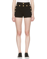 Balmain Black Denim Button Mini Shorts