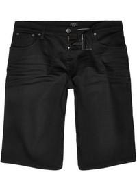 River Island Black Wide Fit Denim Shorts