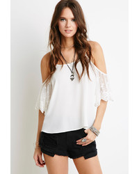 Forever 21 Crochet Daisy Paneled Cutoffs