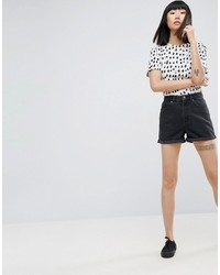 Asos Denim Mom Shorts In Washed Black
