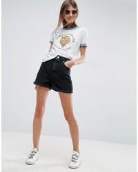 Asos Denim Mom Shorts In Washed Black