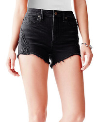 GUESS Destroyed Denim High Waist Shorts