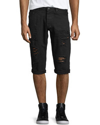 PRPS Distressed Slim Fit Denim Shorts Black