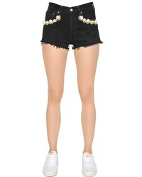 Embellished Cotton Denim Shorts