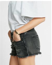 Express Low Rise Frayed Black Denim Cutoff Shorts