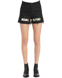 Off-White High Waist Rose Embroidered Denim Shorts