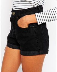 Asos Petite High Waist Denim Mom Shorts In Black | Where to buy ...