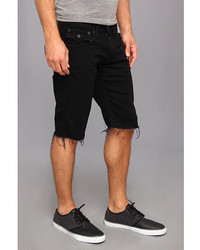 True Religion Ricky Cut Off Short Black Stretch Denim In Midnight ...