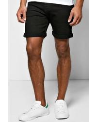 Boohoo Skinny Fit Black Denim Shorts In Mid Length