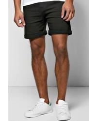 Boohoo Skinny Fit Black Denim Shorts In Short Length