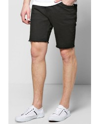 Boohoo Skinny Stretch Denim Shorts With Raw Edge