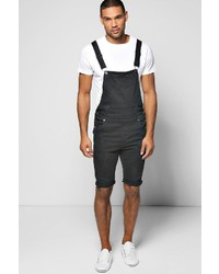 Boohoo Slim Fit Denim Dungaree Shorts With Rips