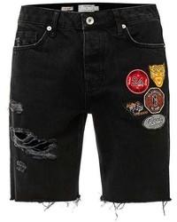 Topman Black Badge Ripped Slim Denim Shorts