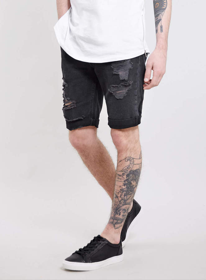 Topman Black Ripped Denim Shorts | Where to buy & how to wear