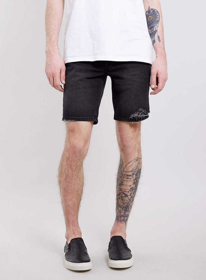 Topman Black Ripped Denim Skinny Shorts | Where to buy & how to wear