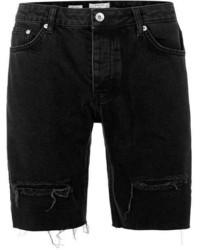 Topman Black Ripped Raw Edge Slim Denim Shorts
