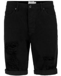Topman Black Ripped Slim Denim Shorts