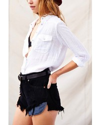 UO Urban Renewal Super Fringe Denim Cheeky Short