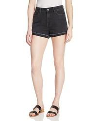Warp Weft Rolled Cuff Denim Shorts In Vintage Black