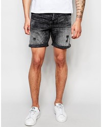 ONLY & SONS Washed Black Denim Shorts