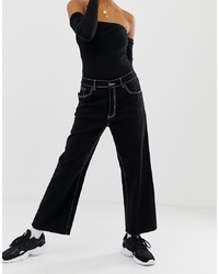 Noisy May Wide Leg Crop Jean With Contrast Stitch