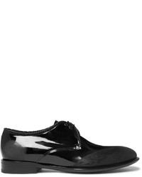 Alexander McQueen Distressed Patent Leather Derby Shoes