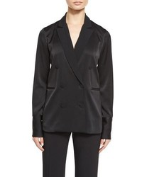 Rag & Bone Adler Double Breasted Satin Blazer Top Black