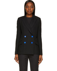 Proenza Schouler Black Crpe Blue Button Double Breasted Blazer