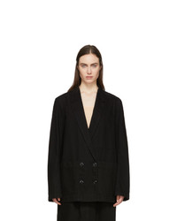 Lemaire Black Denim Double Breasted Jacket