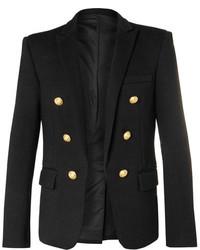 Balmain Black Double Breasted Wool Jersey Blazer
