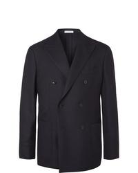 Boglioli Black Unstructured Double Breasted Virgin Wool Hopsack Blazer