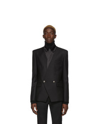 Balmain Black Wool Satin Collar Blazer