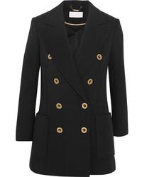Chloé Double Breasted Wool Piqu Blazer Black