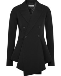 Givenchy Double Breasted Grain De Poudre Wool Peplum Blazer Black