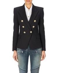 Balmain Double Breasted Jacket Black